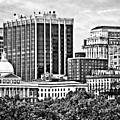 Boston Ma - Skyline With Massachusetts State House Black And White by Susan Savad