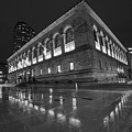 Boston Public Library Rainy Night Boston Ma Black And White by Toby McGuire