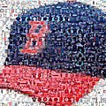 Boston Red Sox Cap Mosaic by Paul Van Scott