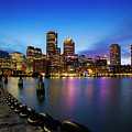 Boston Skyline At Dusk by Mircea Costina Photography