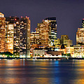 Boston Skyline At Night Panorama by Jon Holiday