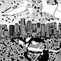 Boston Skyline Black And White by Bekim Art