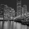 Boston Skyline Blue Hour Bw by Susan Candelario