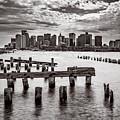 Boston Skyline Bw by Chris Bordeleau