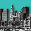 Boston Skyline - Graphic Art - Cyan by Melanie Viola