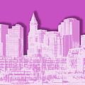 Boston Skyline - Graphic Art - Pink by Melanie Viola