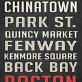 Boston Subway Stops Poster by Edward Fielding