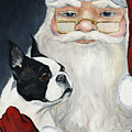 Boston Terrier With Santa by Charlotte Yealey