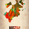 Boston Watercolor Map  by Naxart Studio