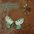 Botanica Vintage Butterflies N Moths Collage 4 by Audrey Jeanne Roberts