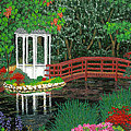 Botanical Garden Park Walk Pink Azaleas Bridge Gazebo Flowering Trees Pond by Baslee Troutman