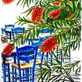 Bottlebrush And Blue by Yvonne Ayoub