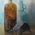 Bottles And Shell by Carol Pascale