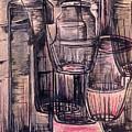 Bottles In Red by Medea Ioseliani