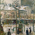Boulevard De Rocheouart In Snow by Camille Pissarro
