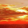 Bound Of Glory - Red Panoramic Sunset  by Gina De Gorna