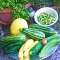 Bounty Of Yummy Veggies by Visker Art Studio Designs Dottie Visker