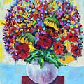 Bouquet In White Vase by Maxim Komissarchik