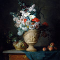 Bouquet Of Flowers In A Terracotta Vase With Peaches And Grapes by Anne Vallayer Coster