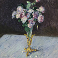Bouquet Of Roses In A Crystal Vase by Gustave Caillebotte