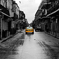 Bourbon Street Taxi French Quarter New Orleans Color Splash Black And White Watercolor Digital Art by Shawn O'Brien