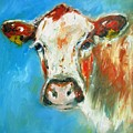 Bovine On Blue  by Mary Cahalan Lee- aka PIXI