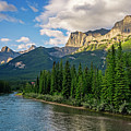 Bow River And Three Sisters Canmore by Joan Carroll