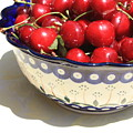 Bowl Of Cherries With Shadow by Carol Groenen