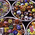 Bowls Full Of Marbles And Dice by Garry Gay