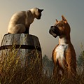 Boxer And Siamese by Daniel Eskridge