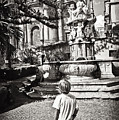 Boy At Statue In Sicily by Madeline Ellis
