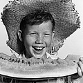 Boy Eating Watermelon, C.1940-50s by H. Armstrong Roberts/ClassicStock