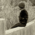 Boy On Fence - Sepia by Lawrence Drake