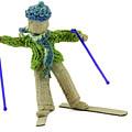 Boy Skiing In Burlap Crafts by Daniel Ghioldi