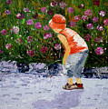 Boy Smeling Flowers by Inna Montano