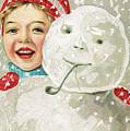 Boy With A Snowman by American School