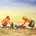 Boys And Trucks On The Beach by Shirley Sykes Bracken