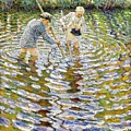 Boys Fishing For Minnows by Reproduction