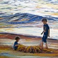 Boys Playing At The Beach by Ryn Shell