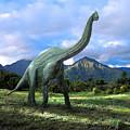 Brachiosaurus In Meadow by Frank Wilson