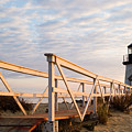Brant Point Lighthouse And Walkway - Nantucket by Henry Krauzyk