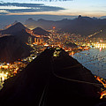 Brasil,rio De Janeiro,pao De Acucar,viewpoint,panoramic View,copacabana At Night by Juergen Held