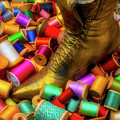 Brass Boot And Spools Of Thread by Garry Gay