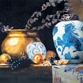 Brass Pot With White And Blue Vase by Keith Nolan