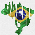 Brazil Typographic Map Flag by Inspirowl Design
