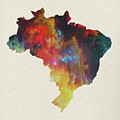 Brazil Watercolor Map by Design Turnpike