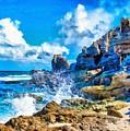 Breakers On The Rocks At Kenridgeview - On - Sea L B by Gert J Rheeders