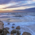 Breaking Waves At Old Silver Beach by Ronald Wilson