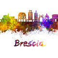 Brescia Skyline In Watercolor by Pablo Romero