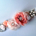 Bridal Sash Belt With Flowers And Rhinestones by Sofia Metal Queen
